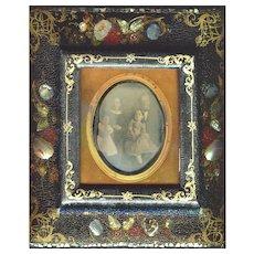 Antique Lacquer MOP Daguerreotype Picture Frame c1850  RARE!