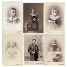 Cabinet Card Photos Six Identified Maine Kids - Family Thuring