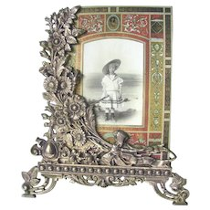 Antique Floral Easel Frame Fancy Cast Iron c1890