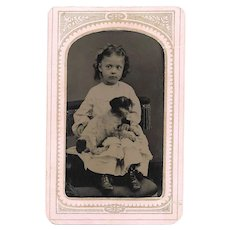 Quality Tintype Girl with Puppy Dog