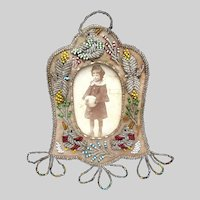 Native American Iroquois Beaded Picture Frame with Song Birds
