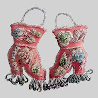 Pair Iroquois Beaded Whimsies Matching Pink Boots Wall Pockets