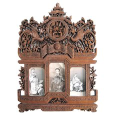 Antique Carved Chinese Picture Frame Spectacular Carte de Visite Frame