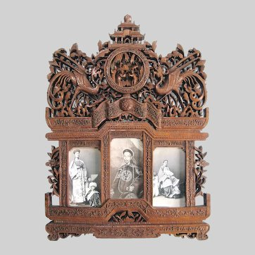Antique Carved Chinese Picture Frame Spectacular Carte de Visite Frame