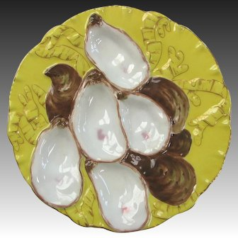 Antique Limoges Turkey Oyster Plate RARE YELLOW - Plate 2