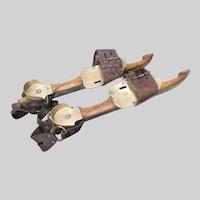 Antique Speed Ice Skates Unusual Brass Fittings - Belgian Maker c 1900
