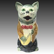 Antique French Majolica Figural Cat Pitcher Playing Mandolin c1890