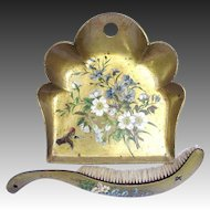 Victorian Papier Mache Crumber Set - Gold Leaf Lacquer with Birds and Wild Flowers