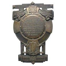"Art Deco Imperial Bronze Shield King George V - Hamilton Cadet Corps 19"" high"