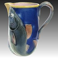 Antique Majolica Fish Pitcher Cobalt Blue c1880 English
