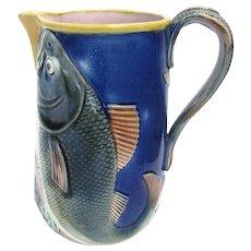 Antique Majolica Fish Pitcher Cobalt Blue c1880 English