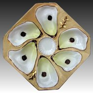 Antique Porcelain Oyster Plate Square 6 Wells Great Colors