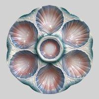 French Majolica Oyster Plate Sarreguemines Majolica