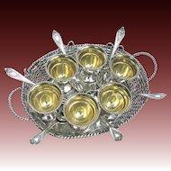 Antique Silver Basket Weave Egg Server for 6 - Elkington & Co. England