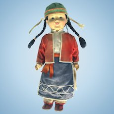 Vintage Chinese Doll Original Complete Silk and Cotton Outfit c1920