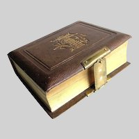 "Antique Leather Photo Album c1870 EMPTY - Gild Embossed on Cover ""FAMILY"""