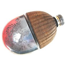 Antique Hip Flask Pewter Wicker Glass by James Dixon & Sons, England 1890