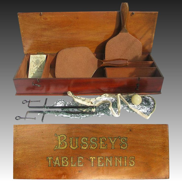 Antique Busseytable Tennis Set In Fancy Wooden Box Old Ping Pong