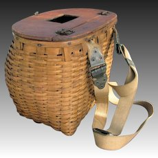 Vintage Splint Fishing Creel Native Made