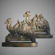 Vintage Camel Bookends Figural Egyptian Motif