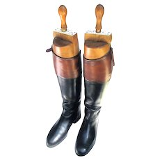 Vintage English Mahogany Top Riding Boots with Trees Peal & Co, London