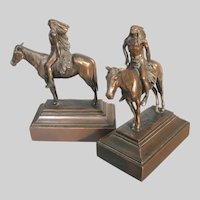 Native American Bookends Indian Brave on Horse c1926
