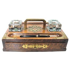 Antique English Oak Ink Well - Large Double Inkwell w Drawer C 1890