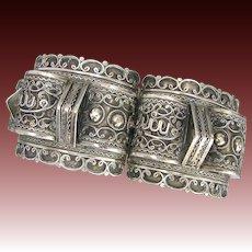 Old Arabic Silver Cuff Bracelet - Large Fancy Filigree Cuff