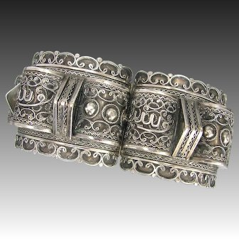 Old Arabic Silver Cuff Bracelet - Large Fancy Filigree Cuff