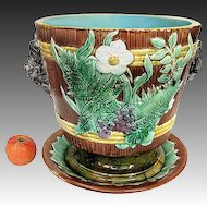 Antique Majolica Jardiniere - LARGE Floral w Underplate c1880 England