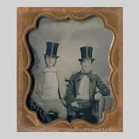 Ambrotype NYC Cousins Top Hats - Peck Union Case - Identified Photographer