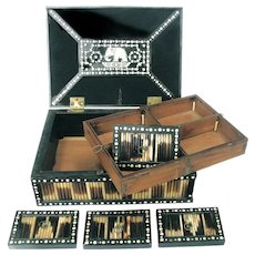 Large Anglo Indian Ebony Quill Box - Six Boxes Inside