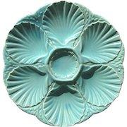 Antique Majolica Oyster Plate Sarreguemines France Aqua Color