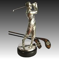 """Silver Figural Golfer Trophy Statuette c 1930 - Well Modelled 14"""" Tall"""