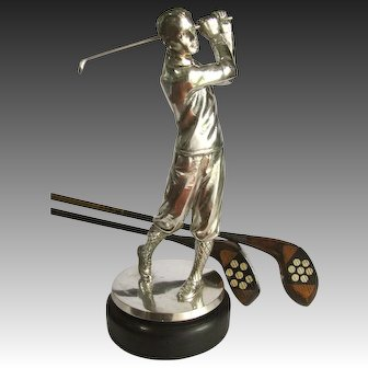 "Silver Figural Golfer Trophy Statuette c 1930 - Well Modelled 14"" Tall"