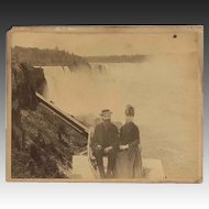 "Niagara Falls Photograph c1875 Large Albumen  of a Couple ""at the Brink"""