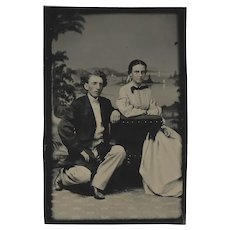 Tintype of Civil War Era Unhappy Young Couple Revenue Stamp