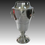 Dog Trophy BEST in SHOW Large Silver Vintage Trophy Cup 1934