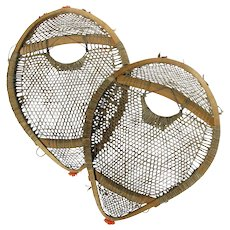 Child's Antique Bear Paw Snowshoes Extra Fine Rawhide Webbing