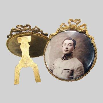 Antique Pair French Celluloid Photo Buttons Men in Uniform