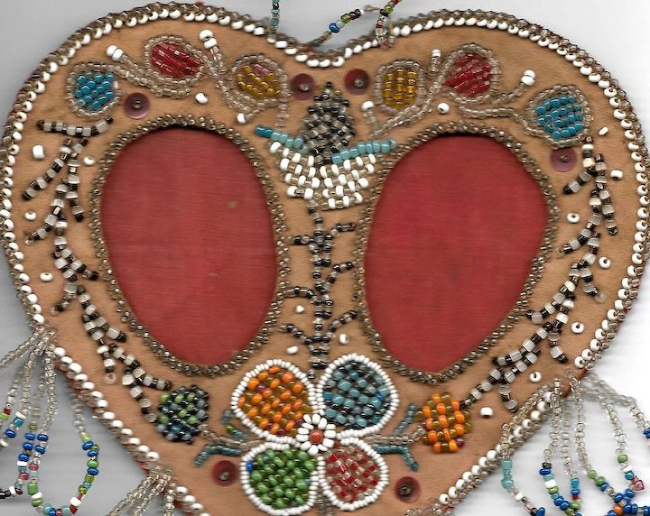 Native American Iroquois Double Heart Beaded Picture Frame ...