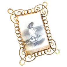 Antique Brass Ring Frame to fit a Cabinet Card - Art Nouveau c1890