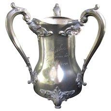Exclusive Bachelor Club Trophy THE HUTCH Sausalito c1900 Large Art Nouveau Pewter Trophy
