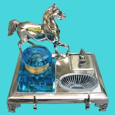 Antique Figural Equestrian Inkwell Meriden Silver Co. Horse Blue Glass Well Dated 1890