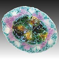 Antique Majolica Leaf Platter Great Colors Mint Condition