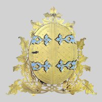 Antique English Ormolu Frame - Bronze Dore Enameled Double Picture Frame