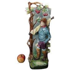 Large Antique Majolica Vase Figural Fisher Boy - Continental Majolica