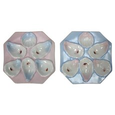 Pair Antique Square Oyster Plates - Pair 4 of 4 – Different Pastel Colors