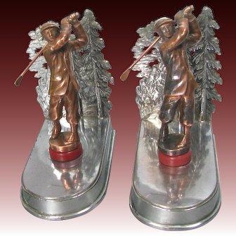 Vintage Figural Golf Bookends c1920 Art Deco