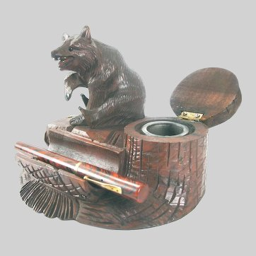 Antique Black Forest Bear Inkwell c1900